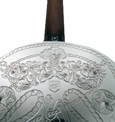 engraved detail on a National guitar